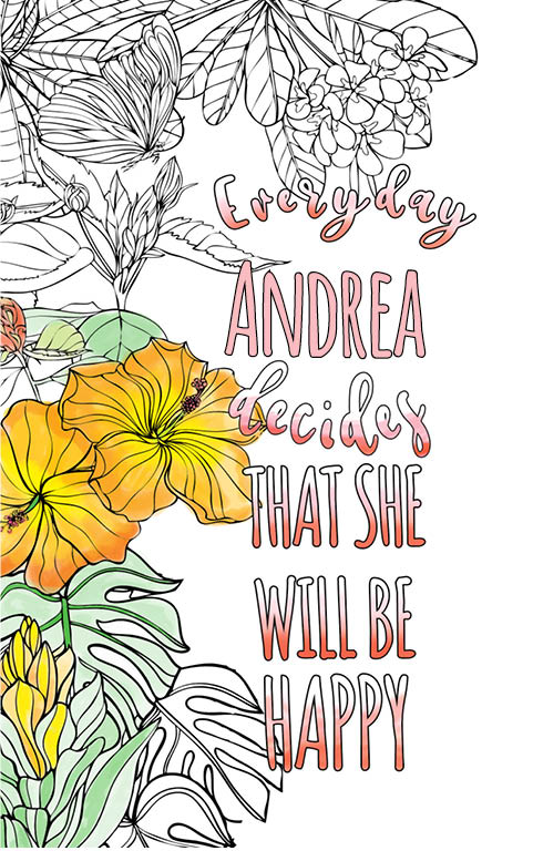 anti stress adult coloring personalized with name Andrea best friend gift idea