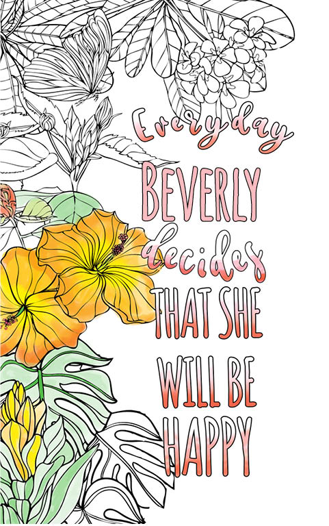 anti stress adult coloring personalized with name Beverly best friend gift idea