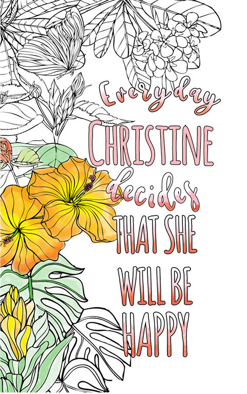 anti stress adult coloring personalized with name Christine best friend gift idea