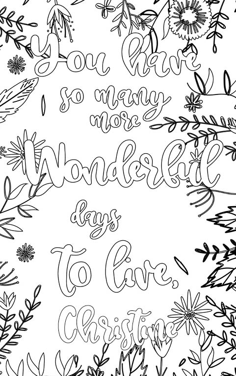 anti stress adult coloring personalized with name Christine gift