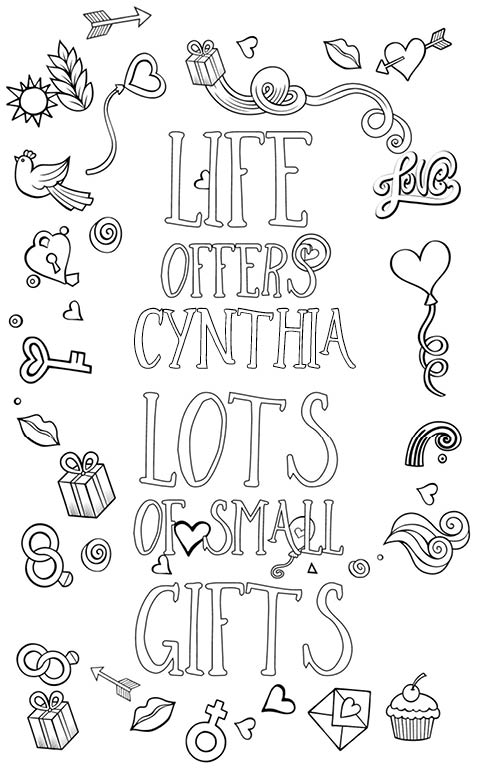 anti stress adult coloring personalized with name Cynthia gift