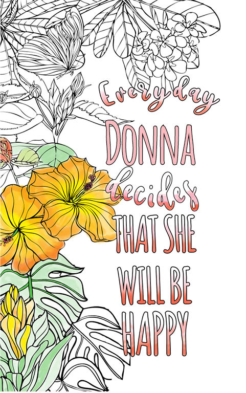 anti stress adult coloring personalized with name Donna best friend gift idea