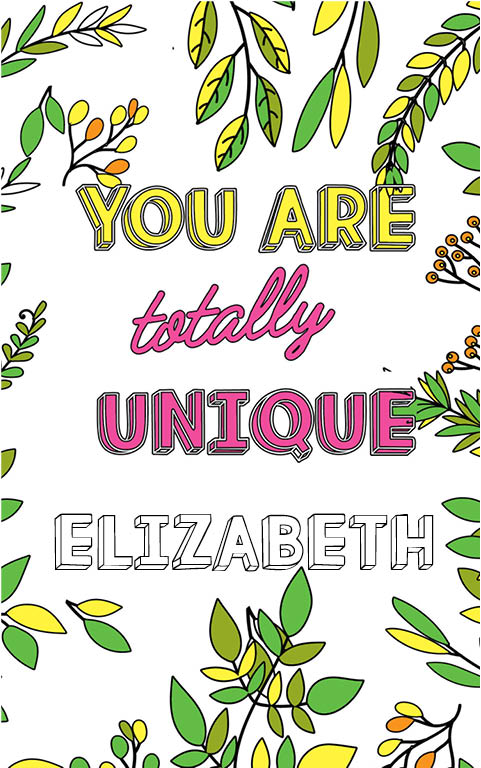 anti stress adult coloring personalized with name Elizabeth best friend gift idea