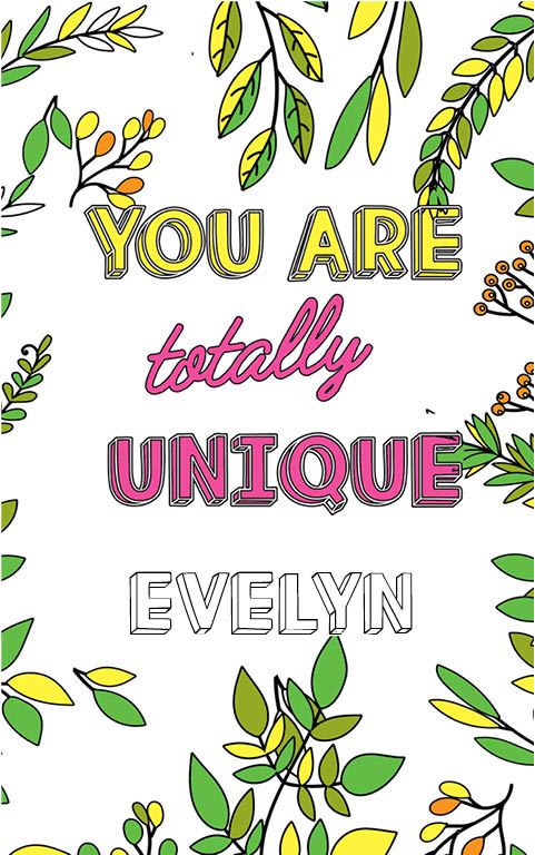 anti stress adult coloring personalized with name Evelyn best friend gift idea
