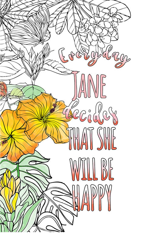 anti stress adult coloring personalized with name Jane best friend gift idea