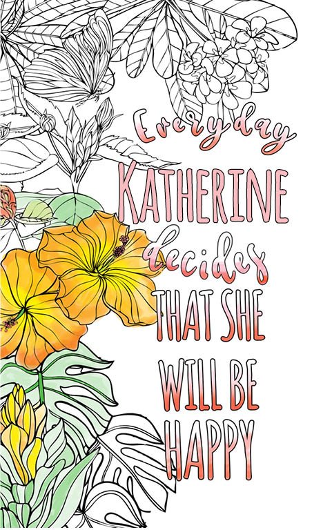 anti stress adult coloring personalized with name Katherine best friend gift idea