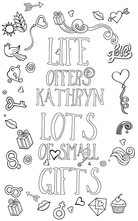 anti stress adult coloring personalized with name Kathryn gift