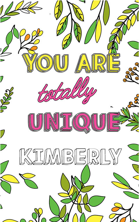 anti stress adult coloring personalized with name Kimberly best friend gift idea