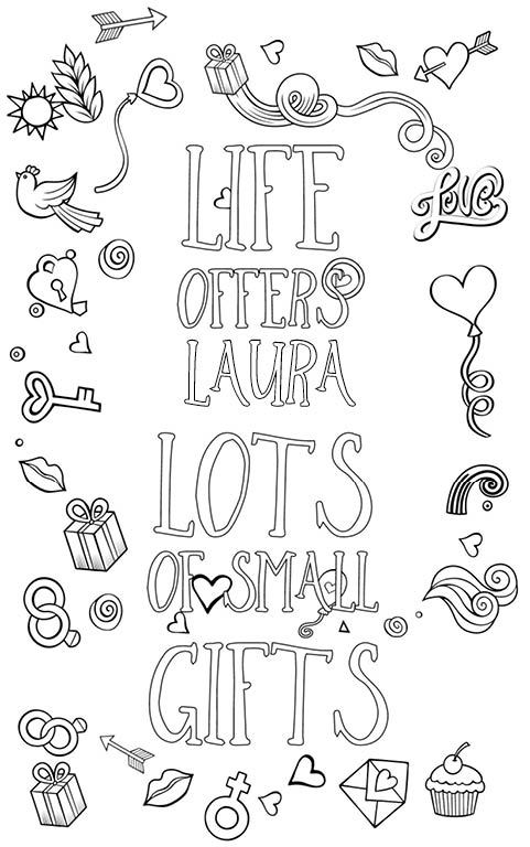 anti stress adult coloring personalized with name Laura gift
