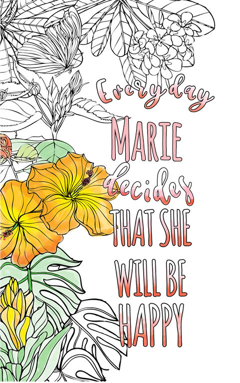 anti stress adult coloring personalized with name Marie best friend gift idea