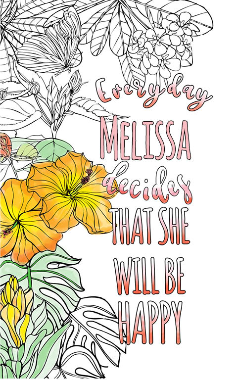anti stress adult coloring personalized with name Melissa best friend gift idea