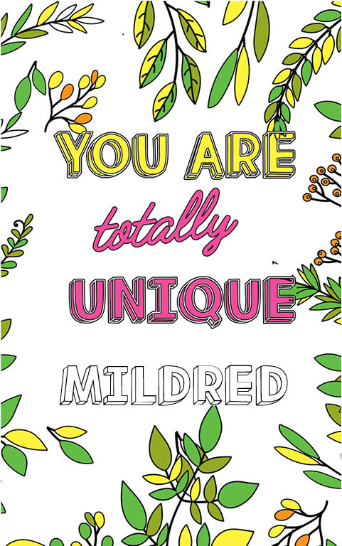 anti stress adult coloring personalized with name Mildred best friend gift idea