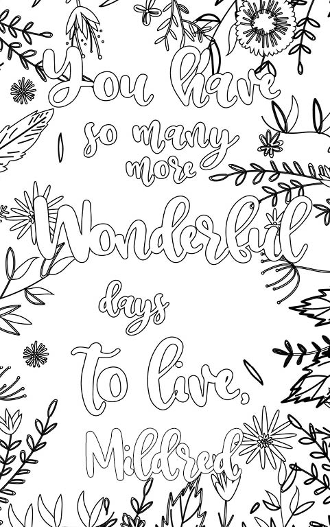 anti stress adult coloring personalized with name Mildred gift