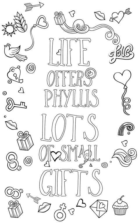 anti stress adult coloring personalized with name Phyllis gift