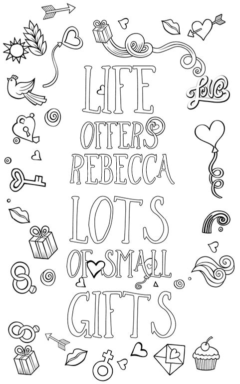 anti stress adult coloring personalized with name Rebecca gift