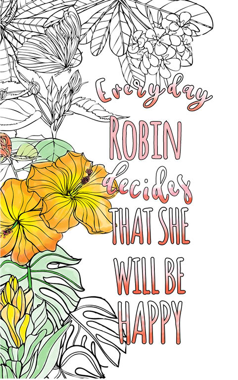 anti stress adult coloring personalized with name Robin best friend gift idea