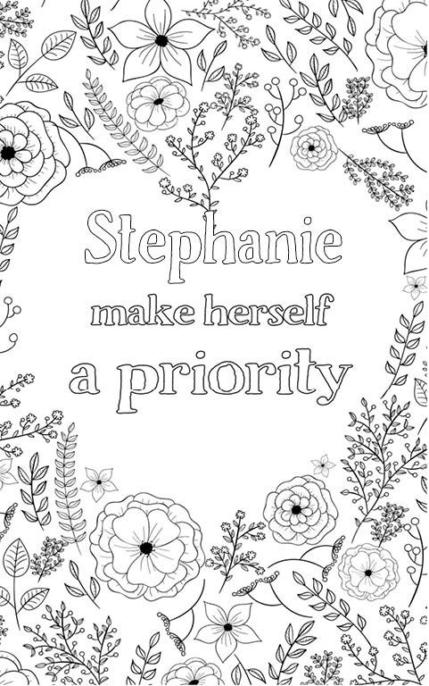 anti stress adult coloring personalized with name Stephanie gift