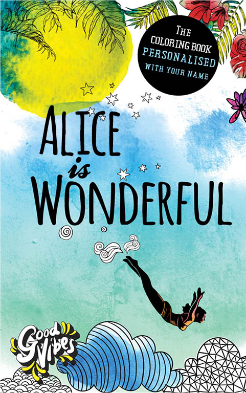 Alice is wonderful personalized coloring book gift for her best friend or mother