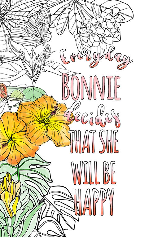 anti stress adult coloring personalized with name Bonnie best friend gift idea