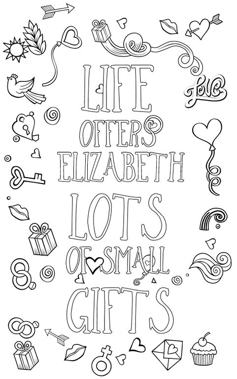 anti stress adult coloring personalized with name Elizabeth gift