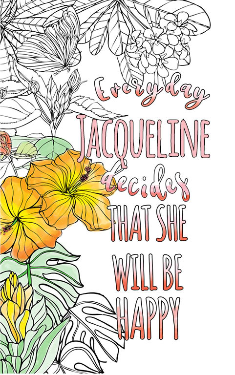 anti stress adult coloring personalized with name Jacqueline best friend gift idea