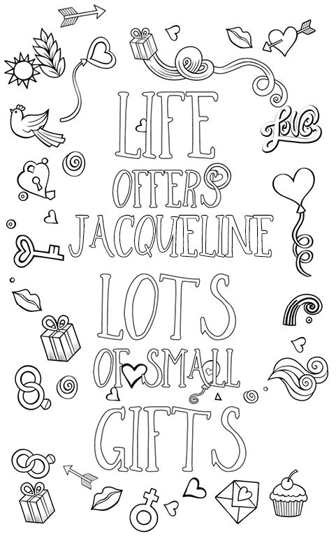 anti stress adult coloring personalized with name Jacqueline gift