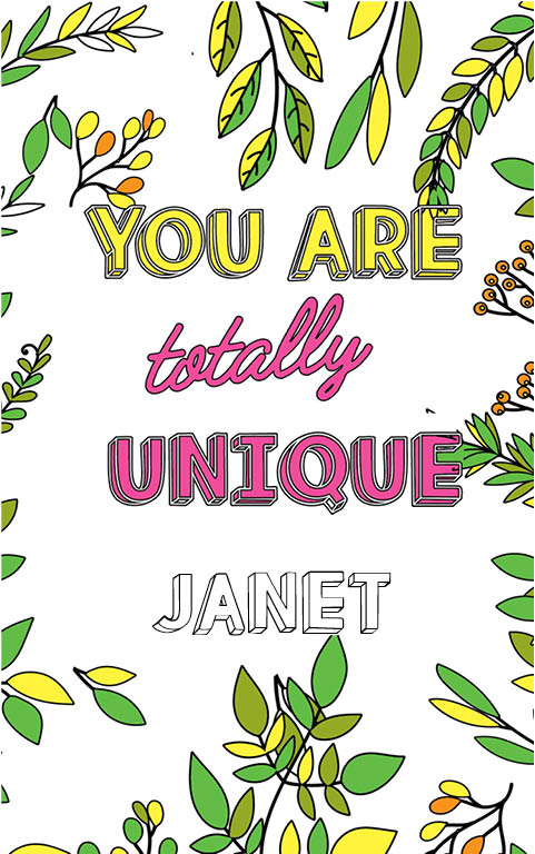 anti stress adult coloring personalized with name Janet best friend gift idea