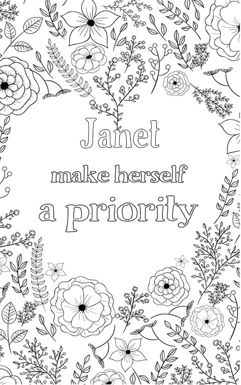 anti stress adult coloring personalized with name Janet gift