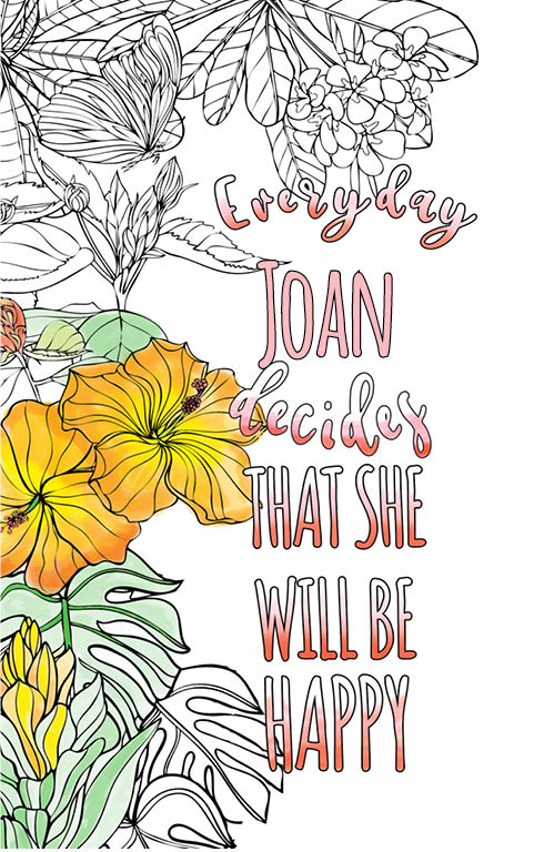 anti stress adult coloring personalized with name Joan best friend gift idea