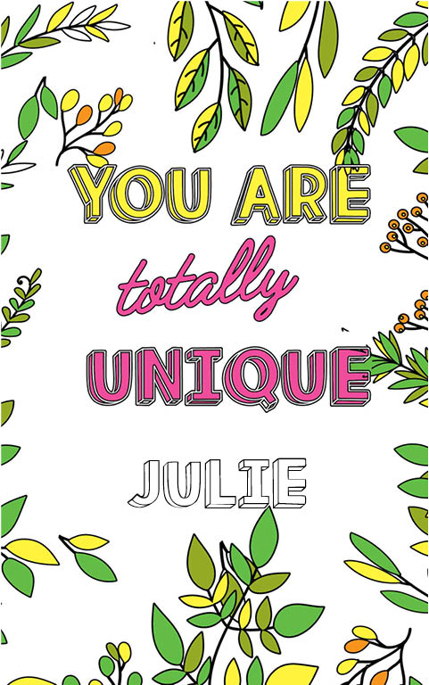 anti stress adult coloring personalized with name Julie best friend gift idea