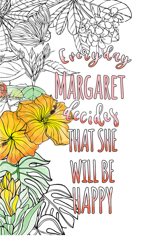 anti stress adult coloring personalized with name Margaret best friend gift idea