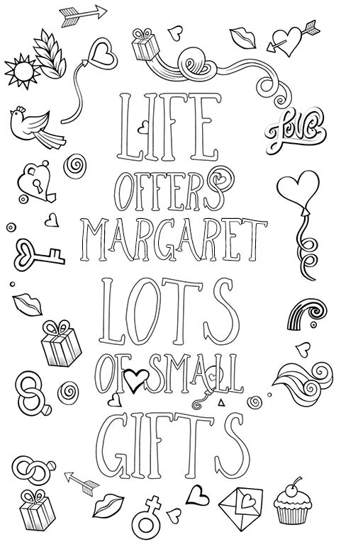 anti stress adult coloring personalized with name Margaret gift