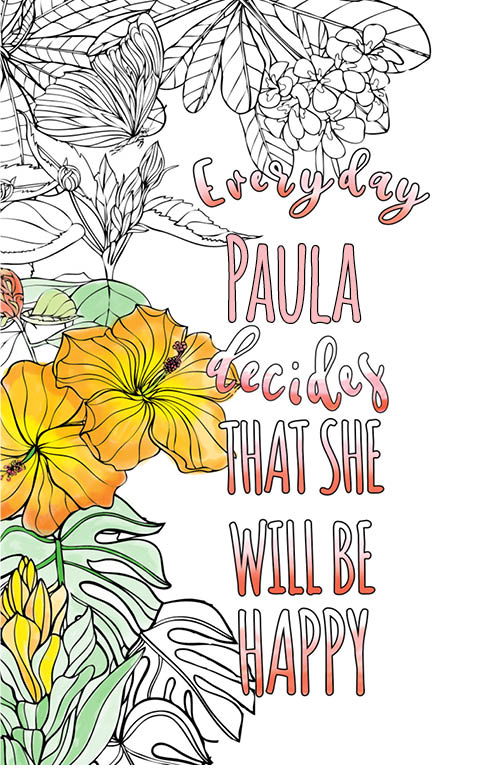 anti stress adult coloring personalized with name Paula best friend gift idea