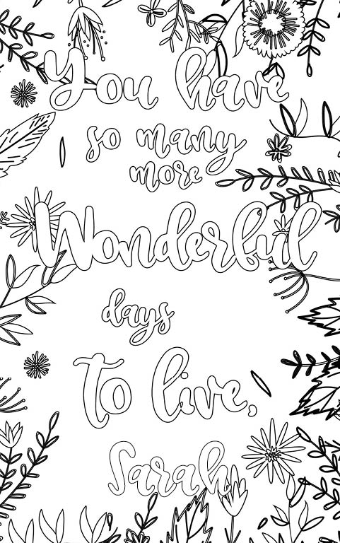 anti stress adult coloring personalized with name Sarah gift