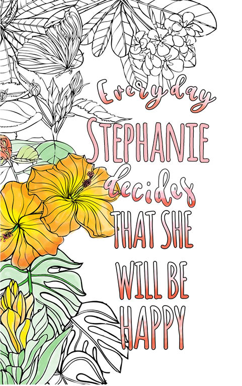 anti stress adult coloring personalized with name Stephanie best friend gift idea
