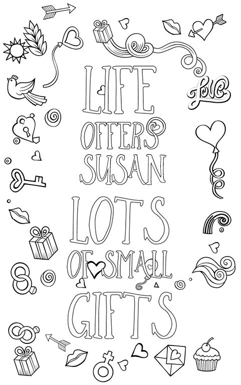 anti stress adult coloring personalized with name Susan gift
